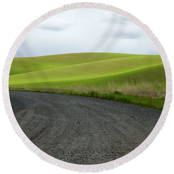 Round Beach Towel featuring the photograph Curves Ahead by Mary Lee Dereske