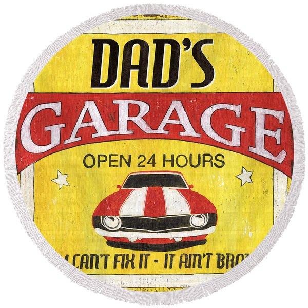 Dad's Garage Round Beach Towel