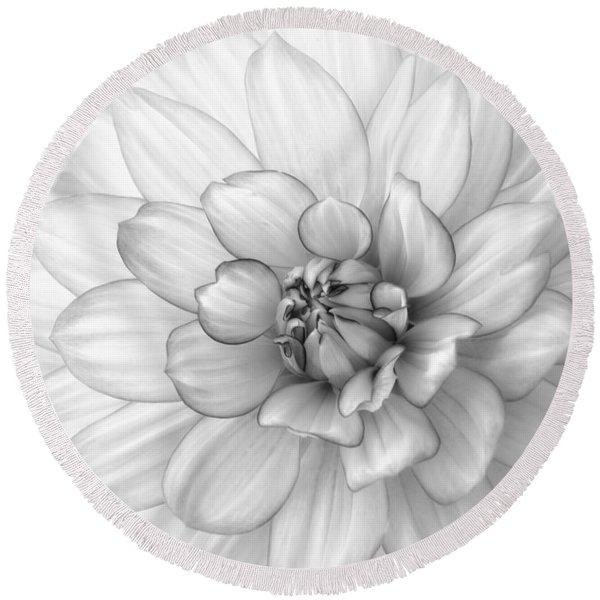 Dahlia Flower Black And White Round Beach Towel