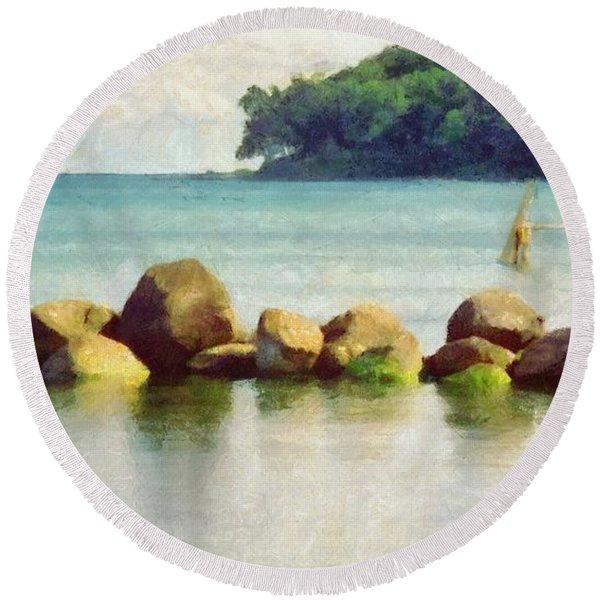 Danish Coast On The Rocks Round Beach Towel