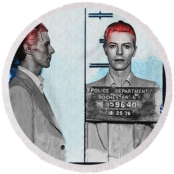 Round Beach Towel featuring the photograph David Bowie Mug Shot by Digital Reproductions