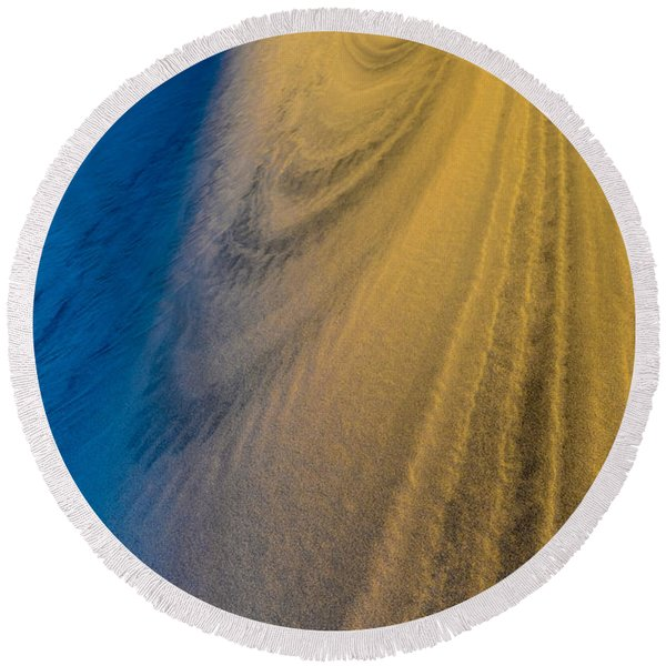 Death Valley Sunset Dune Wind Spiral Round Beach Towel