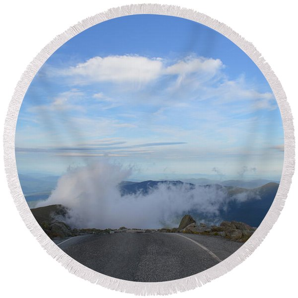 Descending Into The Clouds Round Beach Towel