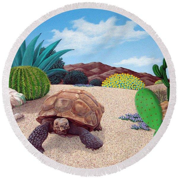 Desert Tortoise Round Beach Towel