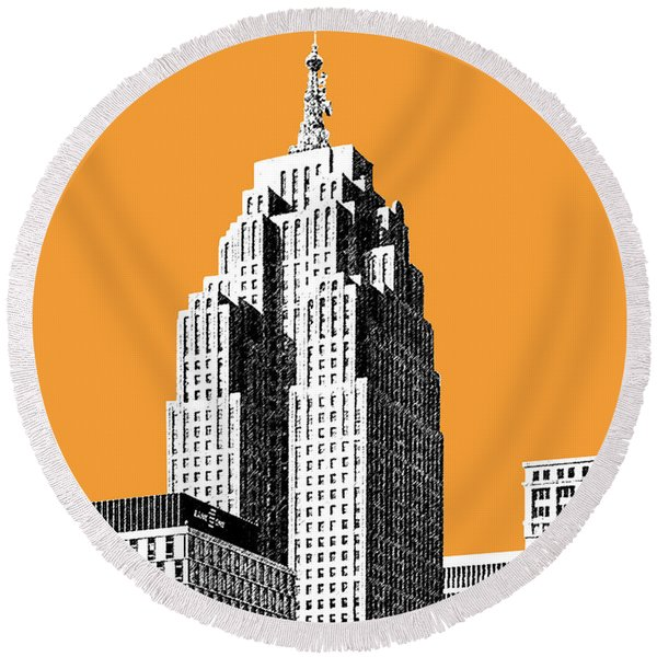 Detroit Skyline 2 - Orange Round Beach Towel
