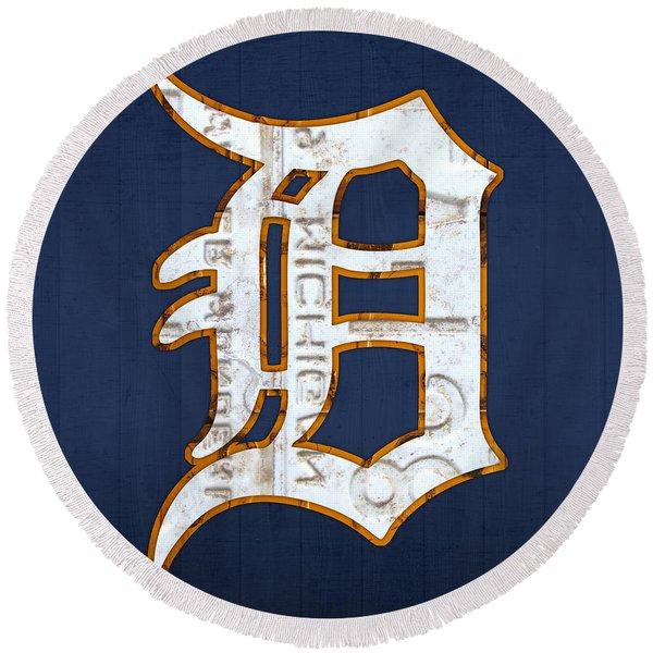 Detroit Tigers Baseball Old English D Logo License Plate Art Round Beach Towel