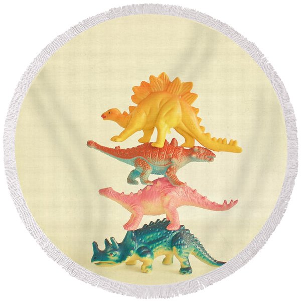 Dinosaur Antics Round Beach Towel