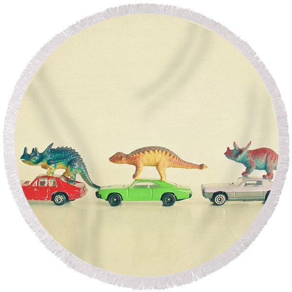 Dinosaurs Ride Cars Round Beach Towel