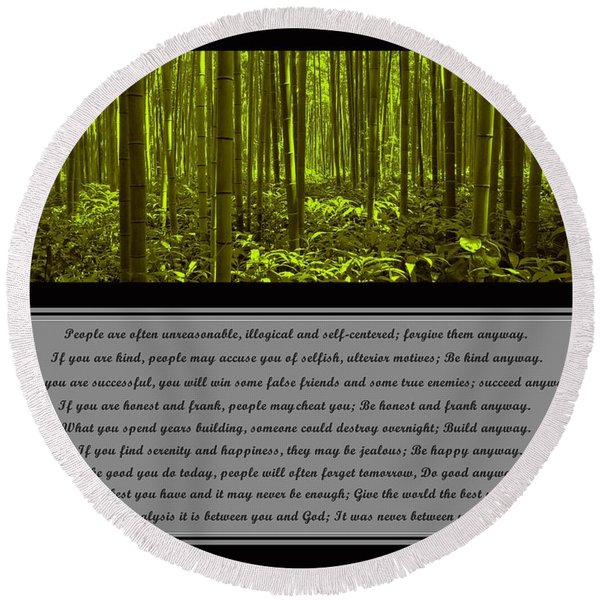 Do It Anyway Bamboo Forest Round Beach Towel