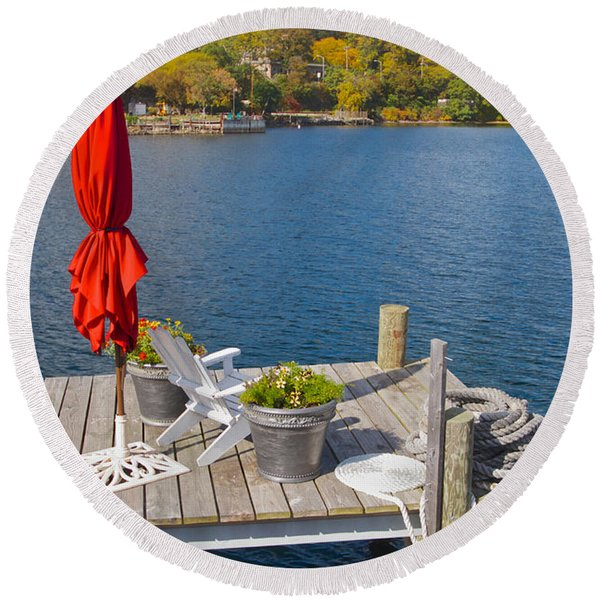 Dock By The Bay Round Beach Towel