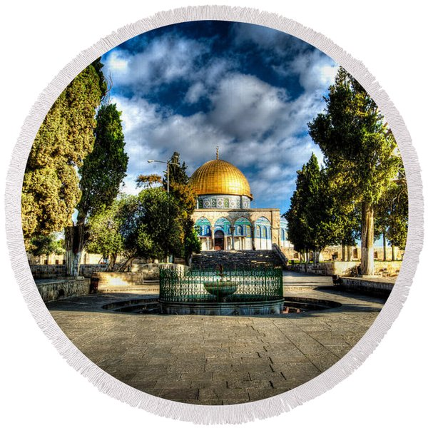 Dome Of The Rock Hdr Round Beach Towel