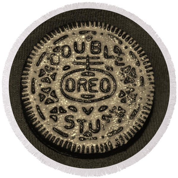 Double Stuff Oreo In Sepia Negitive Round Beach Towel