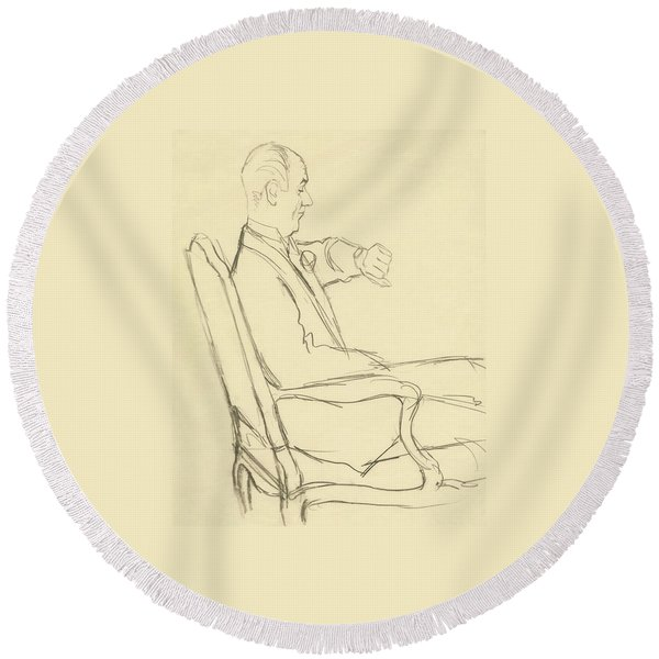 Drawing Of Man Looking At His Watch Round Beach Towel
