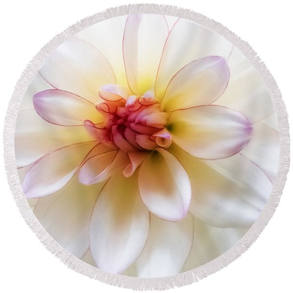 Dreamy Dahlia Round Beach Towel
