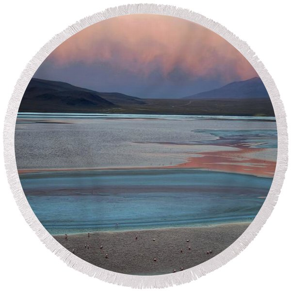 Laguna Colorada - Early Morning Pink Round Beach Towel