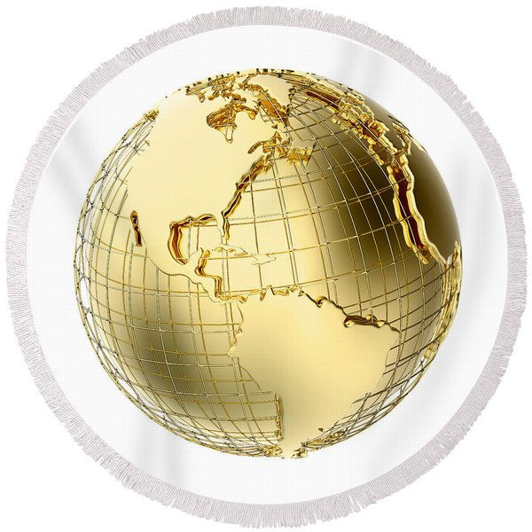 Earth In Gold Metal Isolated On White Round Beach Towel