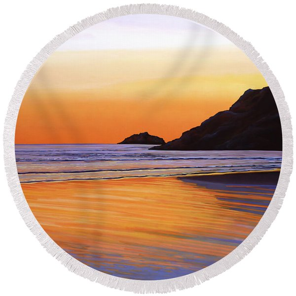 Earth Sunrise Sea Round Beach Towel
