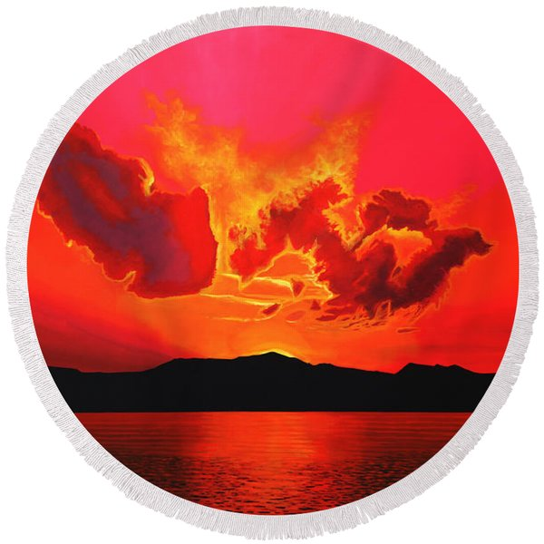 Earth Sunset Round Beach Towel