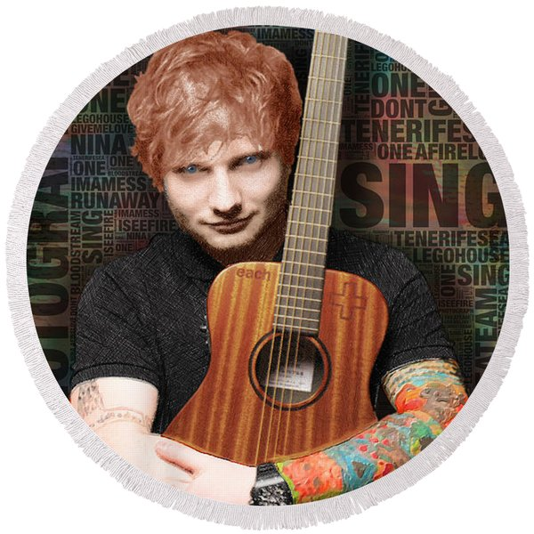 Ed Sheeran And Song Titles Round Beach Towel