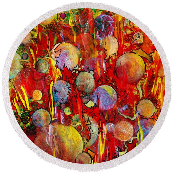 Round Beach Towel featuring the painting Effervesce by Nancy Cupp