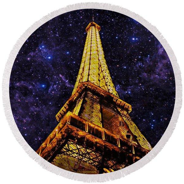 Eiffel Tower Photographic Art Round Beach Towel