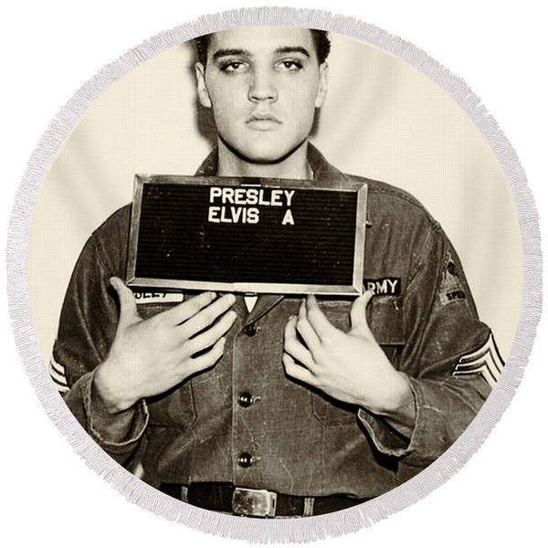 Round Beach Towel featuring the photograph Elvis Presley - Mugshot by Digital Reproductions
