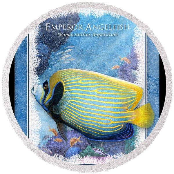 Emperor Angelfish Round Beach Towel