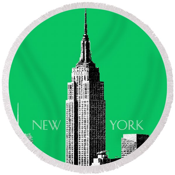 Empire State Building - Green Round Beach Towel