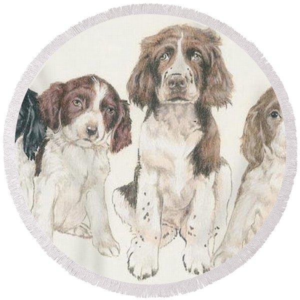 English Springer Spaniel Puppies Round Beach Towel