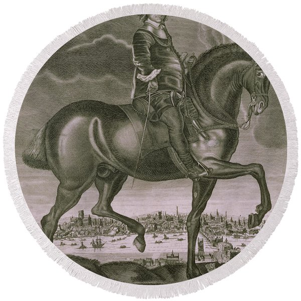 Equestrian Portrait Of Oliver Cromwell  Round Beach Towel