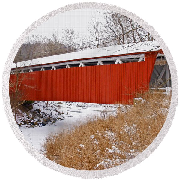 Everett Rd. Covered Bridge In Winter Round Beach Towel
