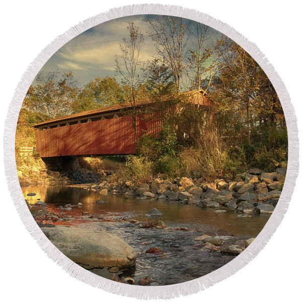 Everett Rd Summit County Ohio Covered Bridge Fall Round Beach Towel