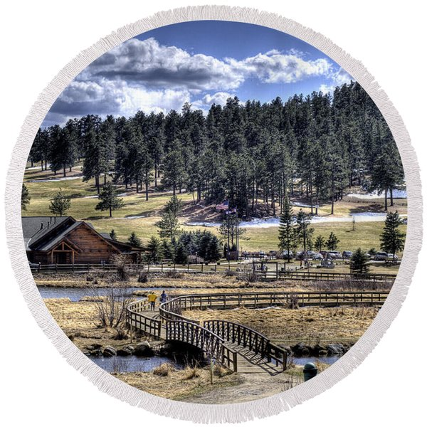 Evergreen Colorado Lakehouse Round Beach Towel