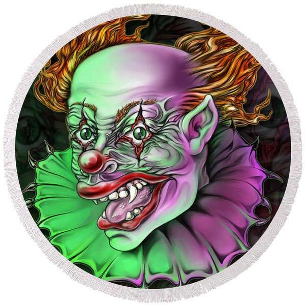 Evil Clown By Spano Round Beach Towel
