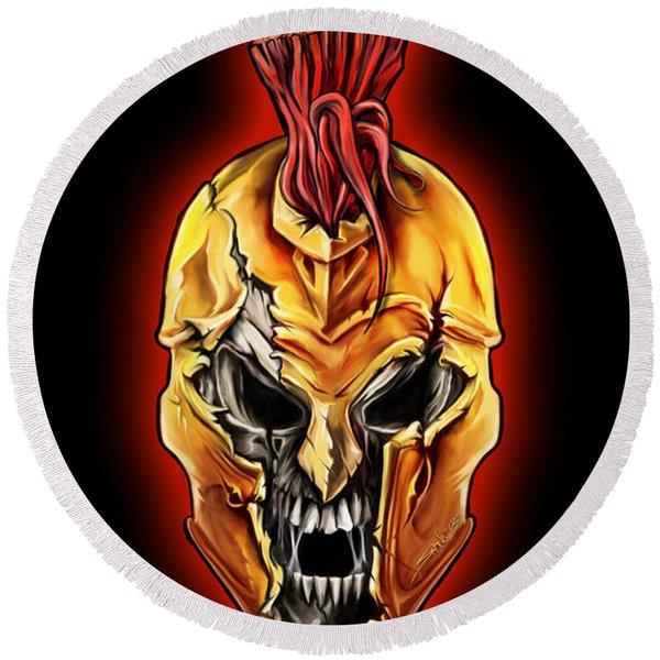 Evil Spartan Skull Round Beach Towel