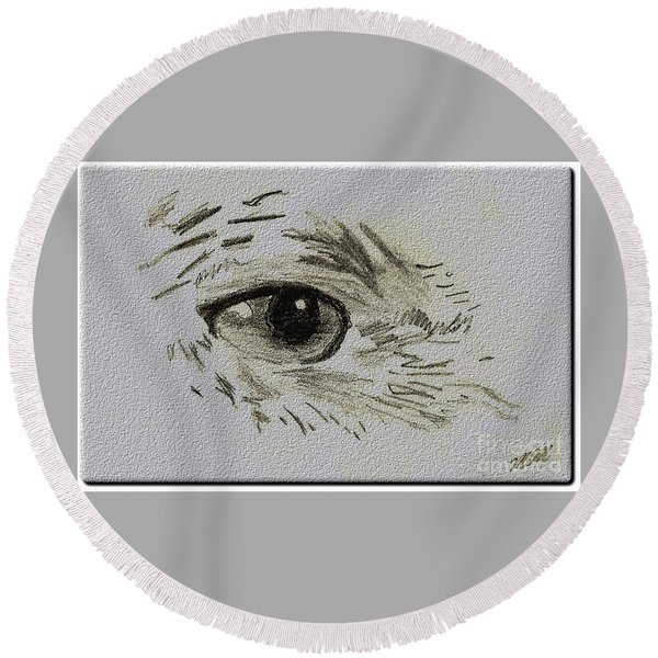 Eye - A Pencil Drawing By Marissa Round Beach Towel
