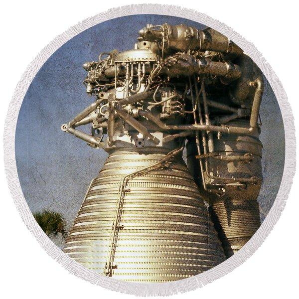 F-1 Rocket Engine Round Beach Towel