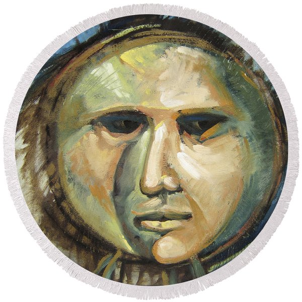 Faced With Blue Round Beach Towel
