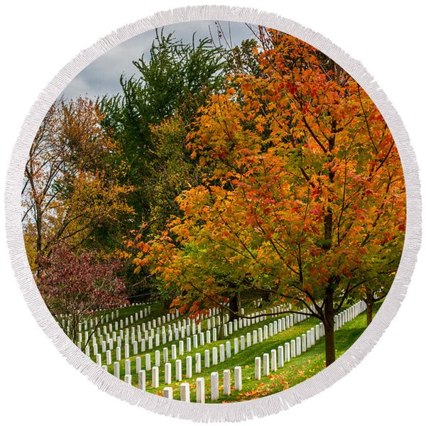Fall Arlington National Cemetery  Round Beach Towel