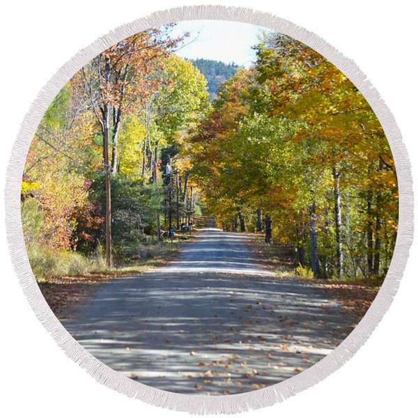 Fall Backroad Round Beach Towel