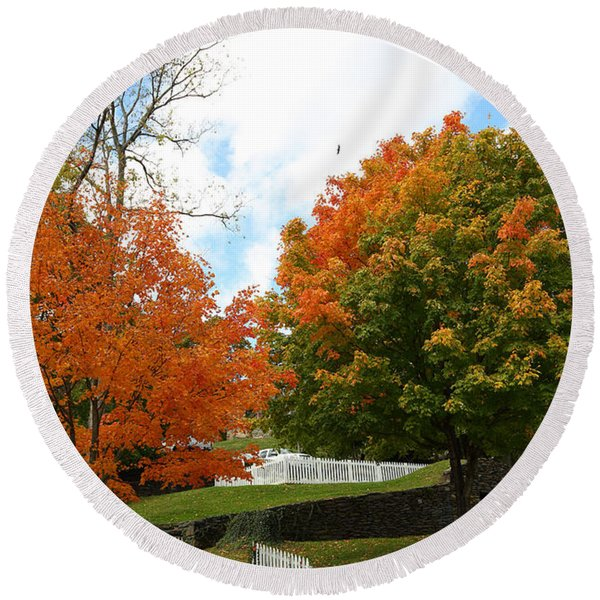 Fall Foliage Colors 09 Round Beach Towel
