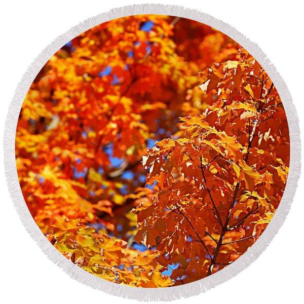 Fall Foliage Colors 17 Round Beach Towel