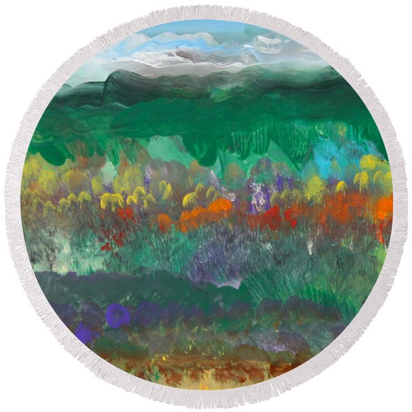 Fall Landscape Abstract Round Beach Towel