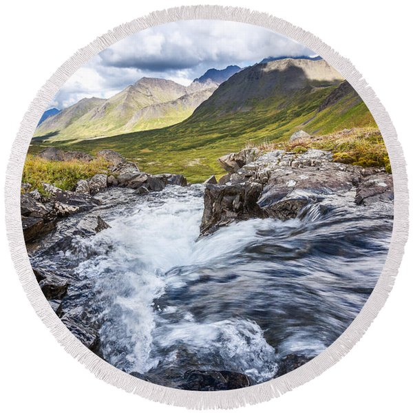 Round Beach Towel featuring the photograph Falls With A View by Tim Newton