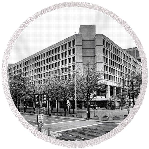 Fbi Building Front View Round Beach Towel