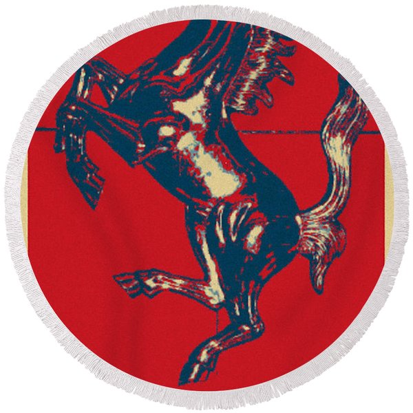 Ferrari Stallion In Hope Round Beach Towel