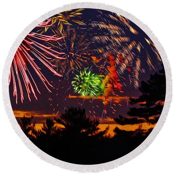 Fireworks No.1 Round Beach Towel