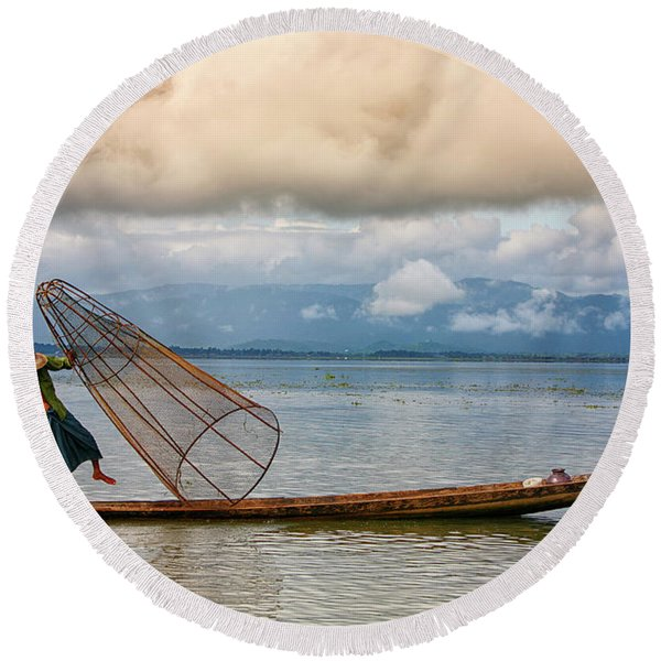 Fishermen In The Inle Lake. Myanmar Round Beach Towel