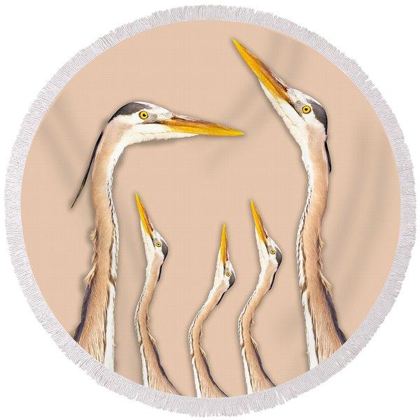 Five Herons Round Beach Towel