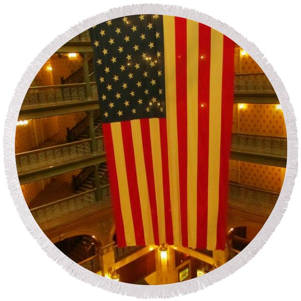 Flag In The Atrium At The Brown Palace Hotel Round Beach Towel